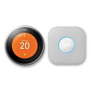 Nest Stainless Steel Thermostat and Nest Protect Wired Bundle