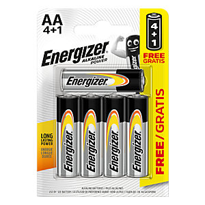 Energizer Alkaline Power AA BP 5 Batteries 4 Pack +1