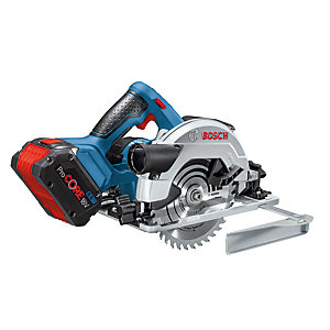 """Bosch 18V Gks 18V-57 G Professional Circular Saw with 2 x 4AH Batteries, Gal 18V-40 Charger Supplied in       L-boxx + Bonus 5AH Battery"""""""