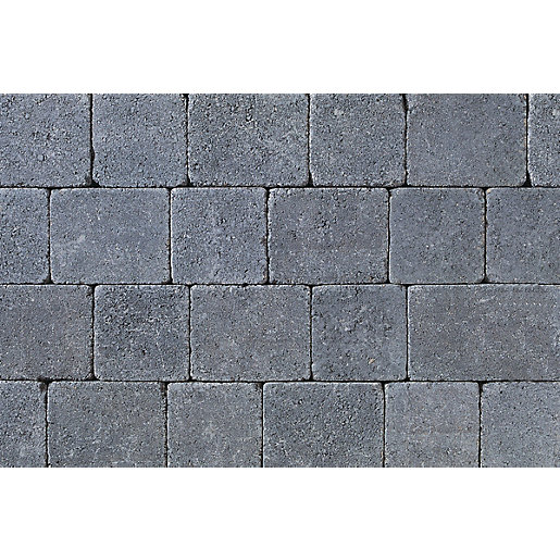 Tobermore Tegula Charcoal decorative Concrete Block Paving 175x140x50mm.