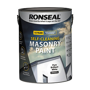 Ronseal Self-cleaning Masonry Paint Pure Brilliant White Smooth 5L