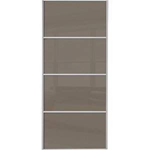 Wickes Sliding Wardrobe Door Silver Framed Four Panel Cappuccino Glass 2220 x 762mm