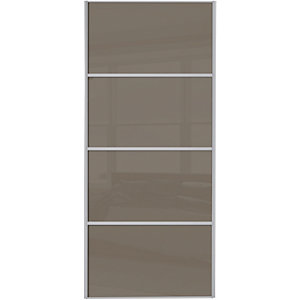 Wickes Sliding Wardrobe Door Silver Framed Four Panel Cappuccino Glass 2220 x 914mm