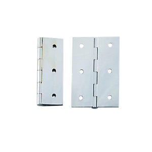 4Trade Polished Chrome Solid Drawn (Brass) Butt Hinge 76mm Pack of 2
