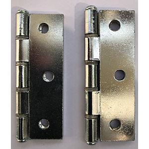 4Trade Butt Hinge Chrome Plated 75 x 50mm Double Steel Washered Pair