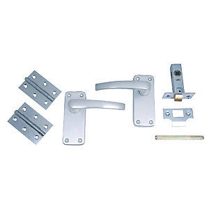 4Trade Manila Lever on Backplate Complete Latch Door Pack Satin Anodised Aluminium