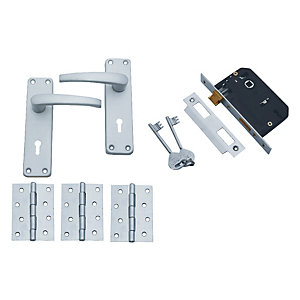 4Trade Manila Lever on Backplate External 3 Door Pack Satin Anodised Aluminium
