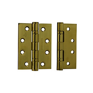 4Trade Fire Door Ball Bearing Hinges Grade 13 Polished Brass 100 x 75 x 3mm Pack of 2