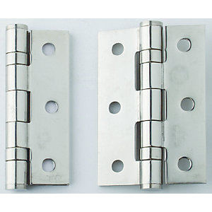 4Trade Fire Door Ball Bearing Hinges Grade 13 Polished Stainless Steel 100 x 75 x 3mm Pack of 3
