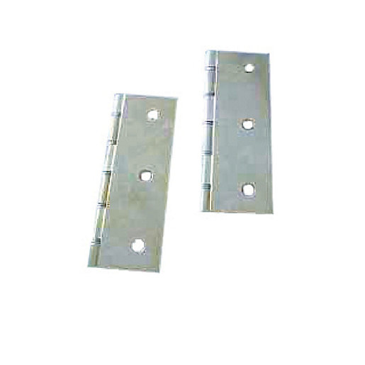 4Trade Polished Brass Double Steel Washered Hinge 75 x 50mm Pack of 2