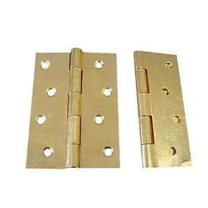 4Trade Fixed Pin Butt Hinge Electro Brass 100mm Pack of 2