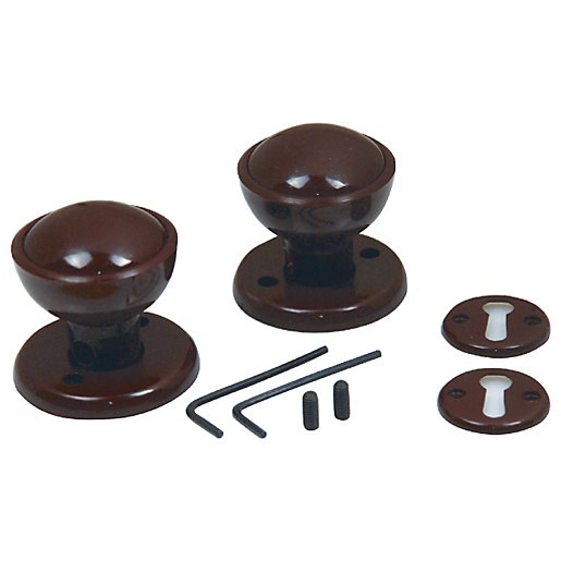 4Trade Rim / Mortice Knob Set Brown