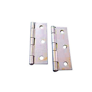 4Trade Butt Hinges Fixed Pin 75mm Self Colour Pack of 2
