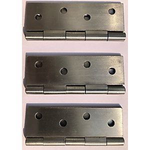 4Trade Fixed Pin Butt Hinge Self Colour 100mm Pack of 3