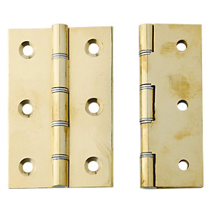 4Trade Double Phosphor Bronze Washered Butt Hinge Polished Brass 76 x 50 x 3mm Pack of 2