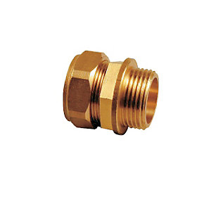 Compression Male Iron Coupling Fitting 15mm x 3/4in - Bag of 10