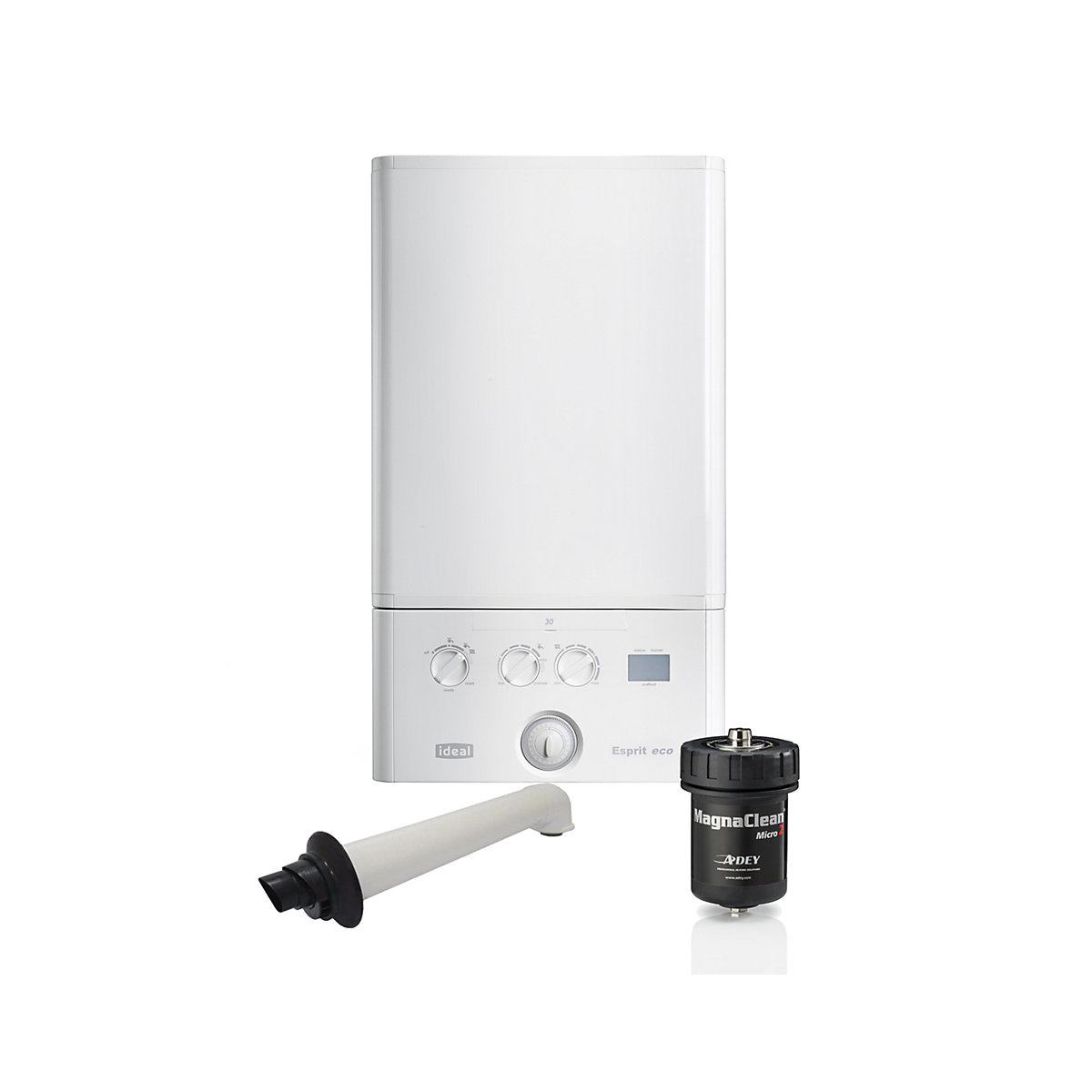 Ideal Esprit Eco 30kW Gas Combi Boiler with Horizontal Flue Chemicals and  Filter 210873