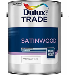 Dulux Trade Satinwood Paint Pure Brilliant White 5L 5183994