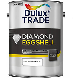 Dulux Trade Diamond Eggshell Paint Pure Brilliant White 5L