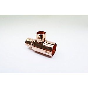 Jw Copper Endfeed Tee Reduced End & Branch 22mmX 15mmX 15mm Pack 10