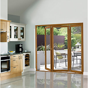 Slimline External Pre-finished Oak Bifold Door Set