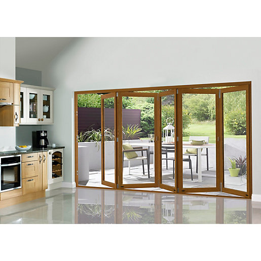 Slimline External Pre-finished Oak Veneer Bifold Door Set 3590mm wide