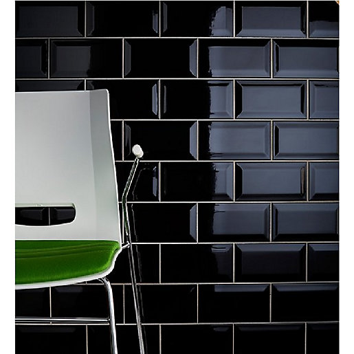 Johnson Tiles Bevel Brick Gloss Black Tile 200mm x 100mm x 7.5mm