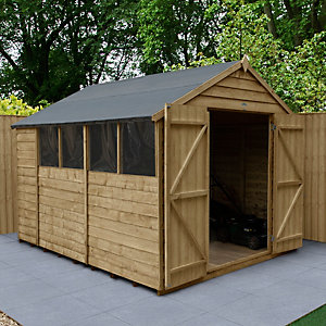 Overlap Pressure Treated Double Door Apex Shed 2438mm x 3048mm