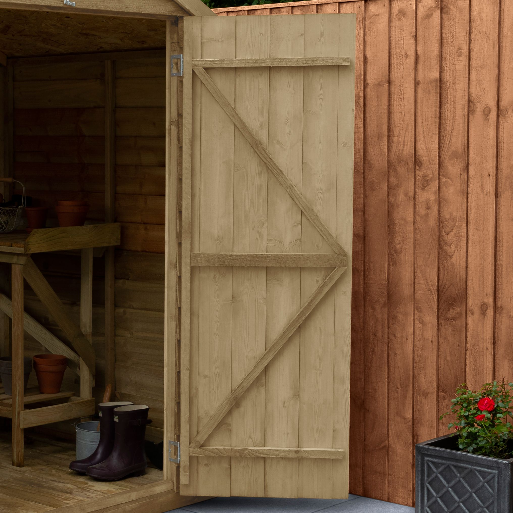 Overlap Pressure Treated Reverse Apex Shed 6 ft x 4 ft