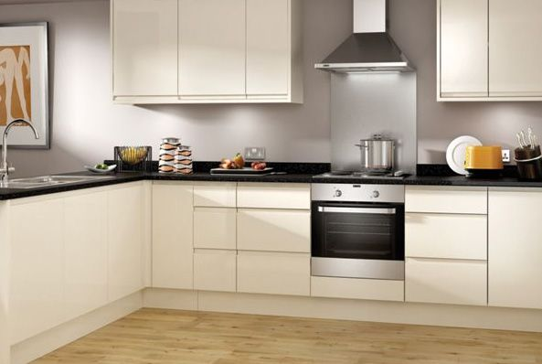 Madison cream handle less kitchen for Long kitchen wall units