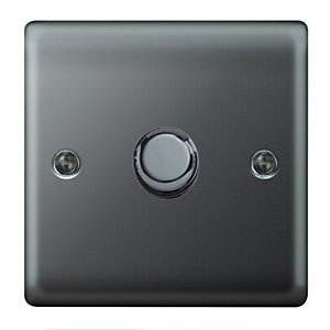 Wickes Dimmer Switch 1 Gang 2 Way 400W Black Nickel Raised Plate