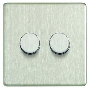 Wickes Dimmer Switch 2 Gang 2 Way 400W Brushed Steel Screwless Flat Plate
