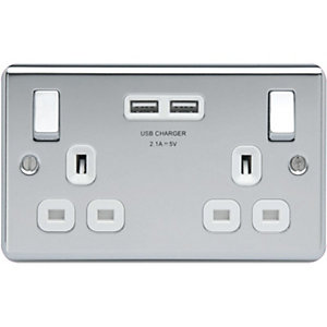 4TRADE 2 Gang USB Socket 2.1A Polished Chrome