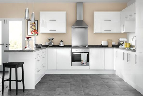 White Gloss Kitchen Shaker With Wood Matt