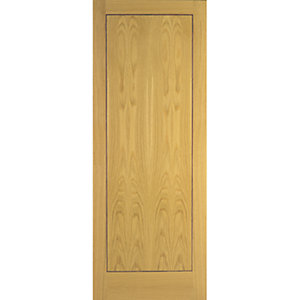 Flush Oak Veneer 1 Panel Internal Door