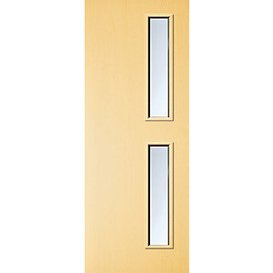 Internal Flush Ash Veneer FD30 Fire Door 16G Clear Glazed