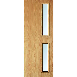 Internal Flush Oak Veneer FD30 Fire Door 16G Clear Glazed