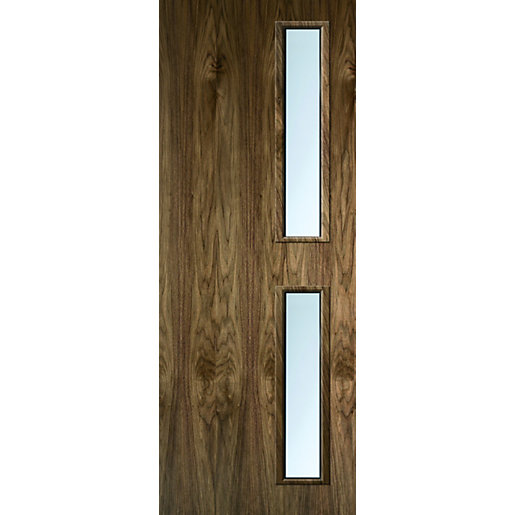 Internal Flush Walnut Veneer FD30 Fire Door 16G Glazed Clear 1981mmm x 762mm x 44mm