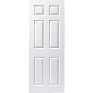 Moulded 6 Panel Smooth Hollow Core Internal Door Height 2040mm