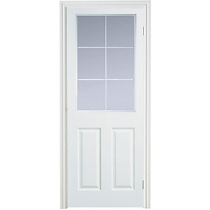 Moulded 6 Panel Smooth Glazed Internal Door Height 1981mm