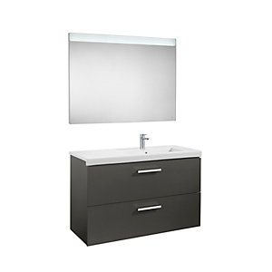 Roca Prisma 2 Drawer Wall Vanity Unit Anthracite Grey 900mm A856883153