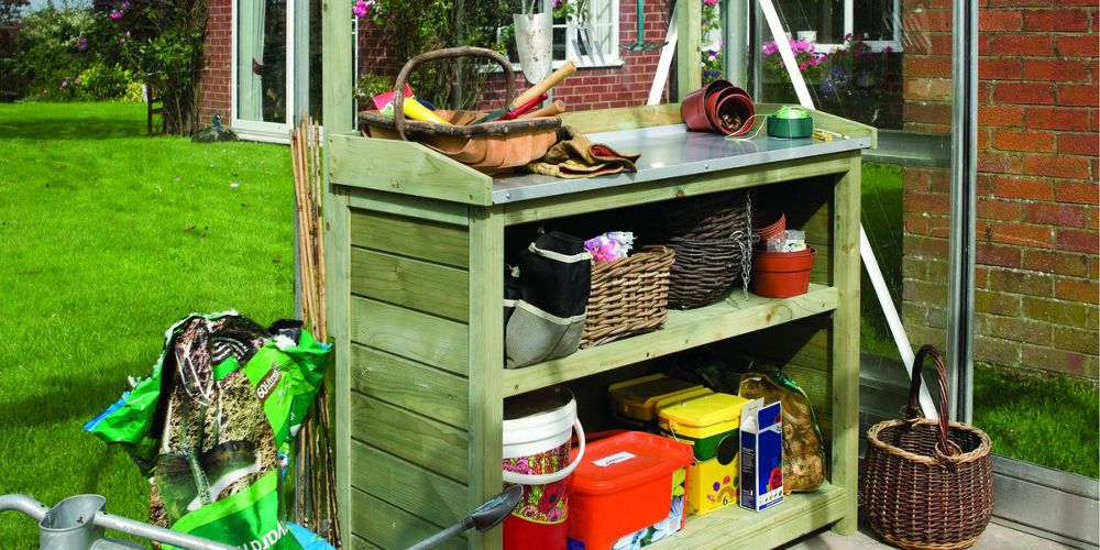 Rowlinson 3 x 2 ft Timber Potting Table with Shelves