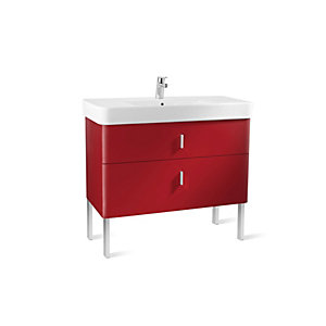 Roca Senso Square 2 .0 Two Drawer Base Unit Red 1000mm A856596896