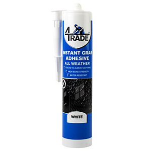 4Trade All Weather Instant Grab Adhesive White 290ml Pack 12
