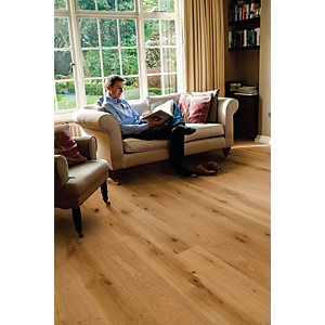 Elka Rustic Brushed & Oiled Oak Wood Uniclic Engineered Flooring - 1820mm x 190mm x 14mm