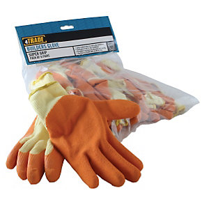 4TRADE Super Grip Builders Gloves Orange One Size - Pack of 6 Pairs