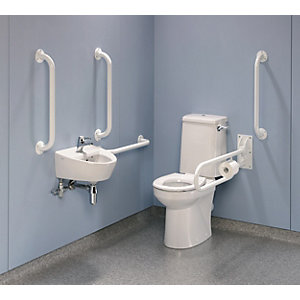 Twyford Doc M Rimless Value Pack Includes Grab Rails & Seat White PK8145WH