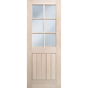 Hardwood Oak Suffolk 6 Light Glazed Internal Door 1981mm x 686mm x 35mm