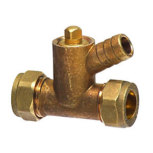 Compression Coupler With Drain Tap 15mm