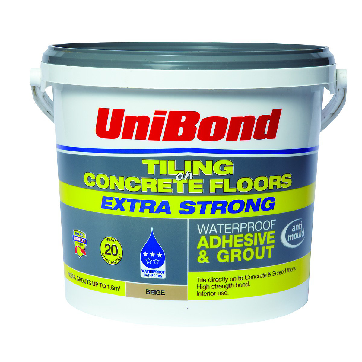 UniBond Tiling On Concrete Floors Waterproof Adhesive & Grout Beige ...